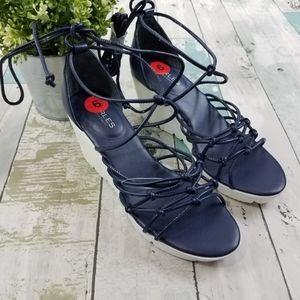 Charles David Blue Vegas Lace Up Wedge Heels 6
